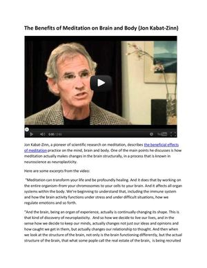 Benefits of meditation by Jon Kabat-Zinn