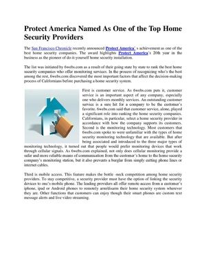 Protect America Named As One of the Top Home Security Providers