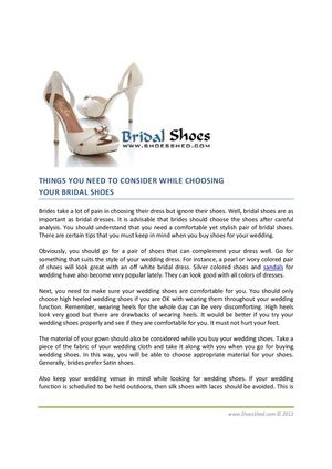 THINGS YOU NEED TO CONSIDER WHILE CHOOSING  YOUR BRIDAL SHOES