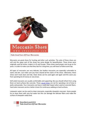 Take Good Care Of Your Moccasins