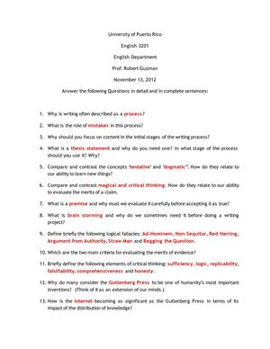 ENGLISH 3202 REVIEW QUESTIONS NOV 2012