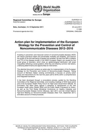 Action plan for implementation of the European Strategy for the Prevention and Control of Noncommunicable Diseases 2012–2016