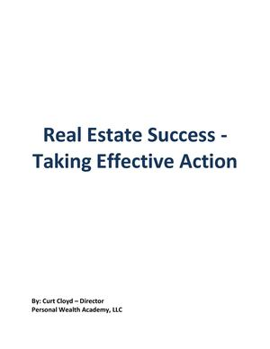 Real Estate Success - Taking Effective Action