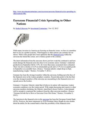 Eurozone Financial Crisis Spreading to Other Nations
