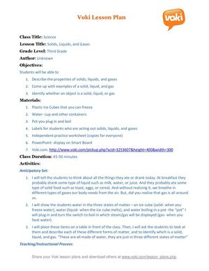 A Voki lesson plan Solid Liquid Gas (3rd Grade Science)