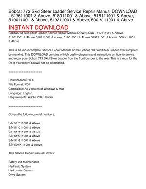 bobcat 773 skid steer loader service repair manual download - 517611001 &  above, 518011001 &