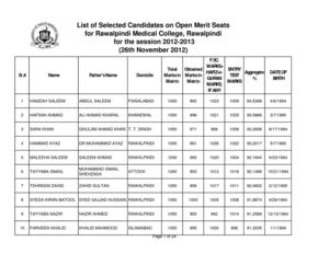 Calaméo - List of Selected Candidates on Open Merit Seats for the
