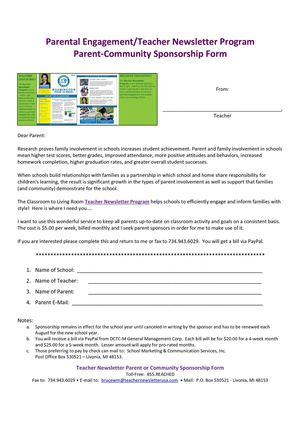 Teacher Newsletter Parent-Community Org Sponsorship Program