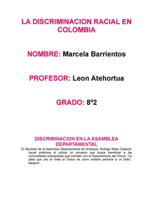 LA DISCRIMINACION RACIAL EN  COLOMBIA