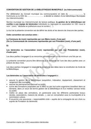 Calameo Modele De Convention De Gestion D Une Bibliotheque Confiee A Des Benevoles