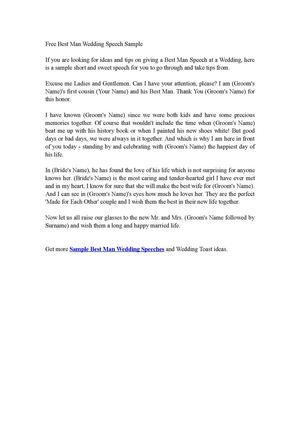 Calamo Free Best Man Wedding Speech Sample