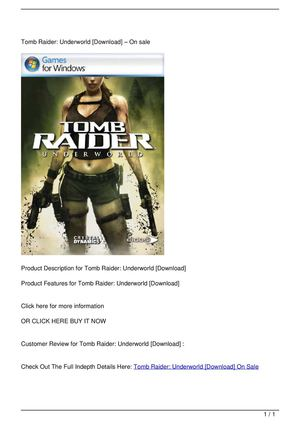 Tomb Raider: Underworld [Download] On Sale