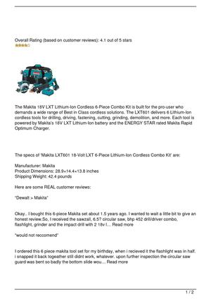 Makita LXT601 Combo Kit Review