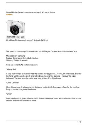 Samsung NX1000 White ~ 20.3MP Digital Camera with 20-50mm Lens Review