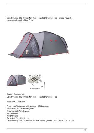 Gelert Colima 3TD Three Man Tent – Frosted Grey/Hot Red Big SALE