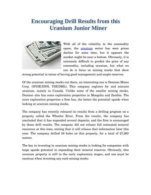 Encouraging Drill Results from this Uranium Junior Miner