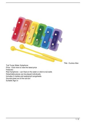 Cuckoo Alex Tub Tunes Water Xylophone SALE