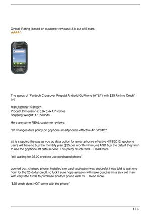 Pantech Crossover Prepaid Android GoPhone (AT&T) with $25 Airtime Credit Review