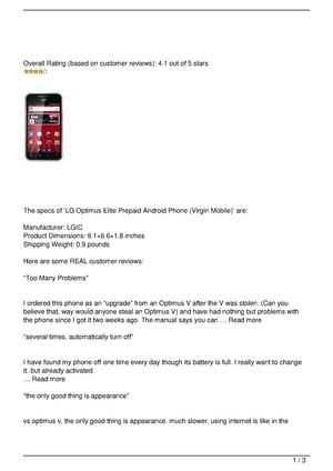 LG Optimus Elite Prepaid Android Phone (Virgin Mobile) Review