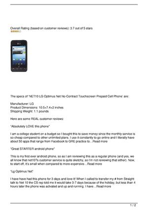 NET10 LG Optimus Net No-Contract Touchscreen Prepaid Cell Phone Review