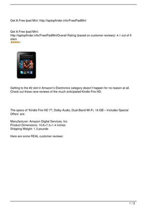 Kindle Fire HD 7″, Dolby Audio, Dual-Band Wi-Fi, 16 GB – Includes Special Offers Review