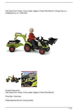 Falk Claas Farm Tractor, Front Loader, Digger & Trailer Kids Ride On Big Discount
