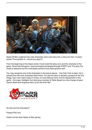 Gears Of War Judgment – New Characters and New Story?