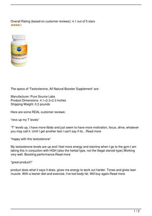 Testosterone, All Natural Booster Supplement
