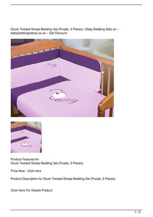 Gluck Twisted Sheep Bedding Set (Purple, 3 Pieces) Get Rabate