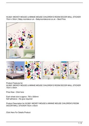 HL5621 MICKEY MOUSE & MINNIE MOUSE CHILDREN'S ROOM DECOR WALL STICKER 70cm x 50cm Discount !!