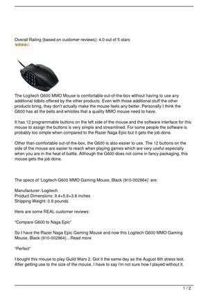 Logitech G600 MMO Review