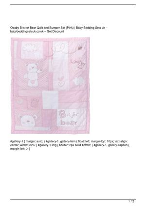 Obaby B is for Bear Quilt and Bumper Set (Pink) Promo Offer
