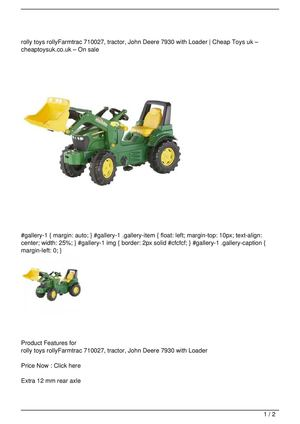 rolly toys rollyFarmtrac 710027, tractor, John Deere 7930 with Loader Discount !!