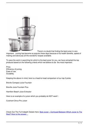 Best Juicer – Confused Between Which Juicer Is The Best? Here is the answer…
