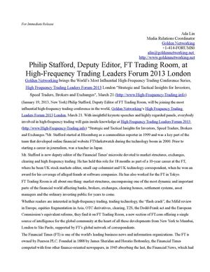 Philip Stafford, Deputy Editor, FT Trading Room, at High-Frequency Trading Leaders Forum 2013 London