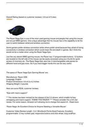 Razer Naga Epic Review
