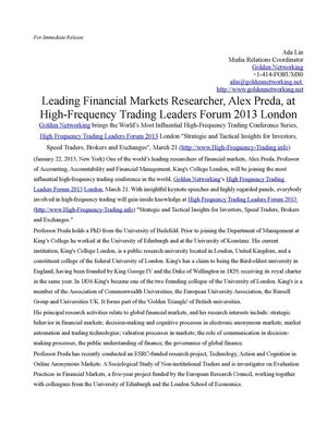 Leading Financial Markets Researcher, Alex Preda, at High-Frequency Trading Leaders Forum 2013 London