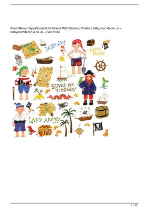 RoomMates Repositionable Childrens Wall Stickers, Pirates On Sale