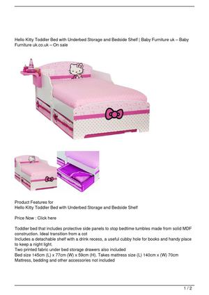 Hello Kitty Toddler Bed with Underbed Storage and Bedside Shelf Discount !!
