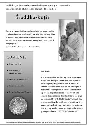Sraddha-kutir fliers for the Leaders.