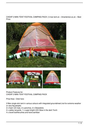 CHEAP 2 MAN TENT FESTIVAL CAMPING PACK Promo Offer