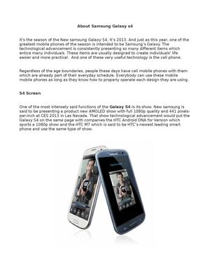 About Samsung Galaxy s4