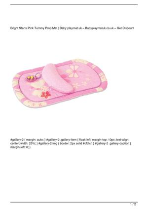 Bright Starts Pink Tummy Prop Mat Promo Offer