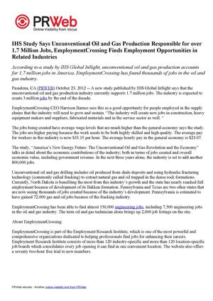 IHS Study Says Unconventional Oil and Gas Production Responsible for over 1.7 Million Jobs, EmploymentCrossing Finds Employment Opportunities in Related Industries