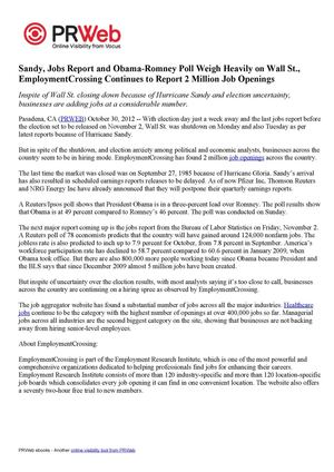 Sandy, Jobs Report and Obama-Romney Poll Weigh Heavily on Wall St., EmploymentCrossing Continues to Report 2 Million Job Openings