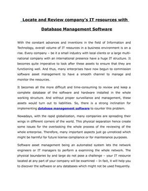 Locate and Review company's IT resources with Database Management Software