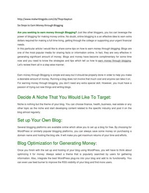 Six Steps to Earn Money through Blogging
