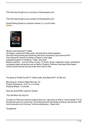 Kindle Fire HD 7″, Dolby Audio, Dual-Band Wi-Fi, 32 GB Review