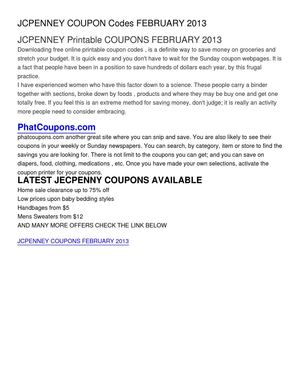 JCPENNEY COUPON Codes FEBRUARY 2013