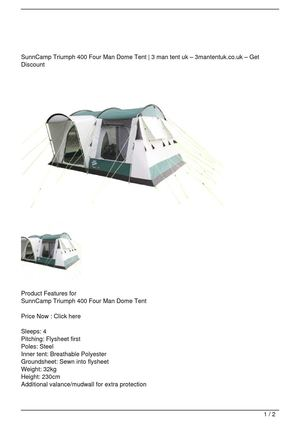 SunnCamp Triumph 400 Four Man Dome Tent Big Discount
